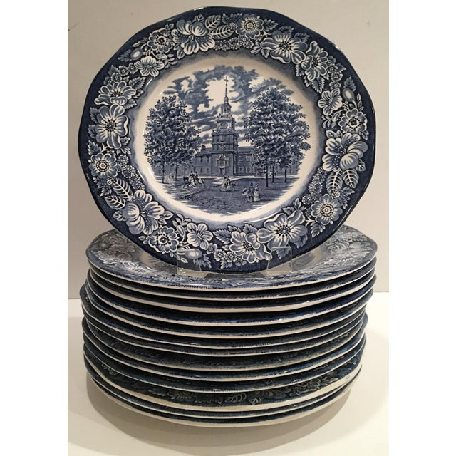 """1970's English Staffordshire """"Independence Hall"""" Dinner Plates - Set of 15 - Image 2 of 6"""