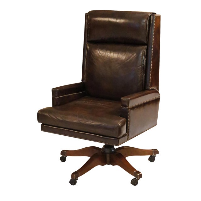 Executive Leather Desk Chair by Baker Furniture For Sale