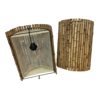 Small Bamboo Wall Sconces - A Pair For Sale