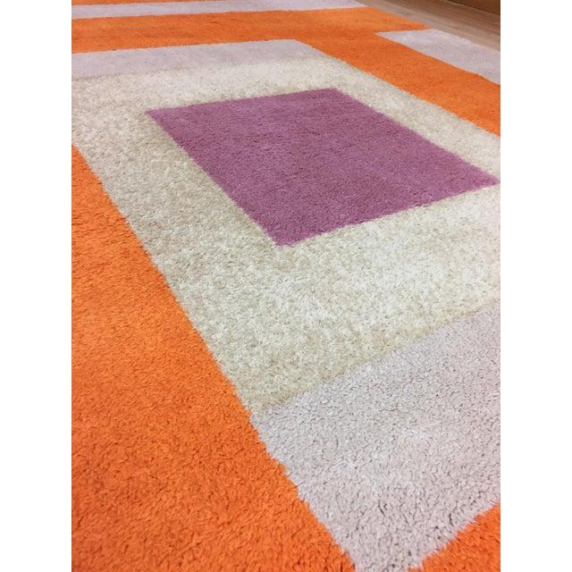 Vintage Belgian Geometric Pop Art Orange Elementa 80 Wool Rug - 6′6″ × 9′10″ - Image 4 of 8