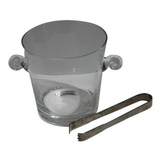 Cut Crystal Ice Bucket With Chrome Tongs For Sale