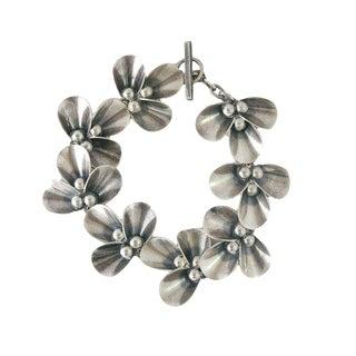n.e. From Denmark Modernist Sterling Silver Floral Toggle Bracelet For Sale