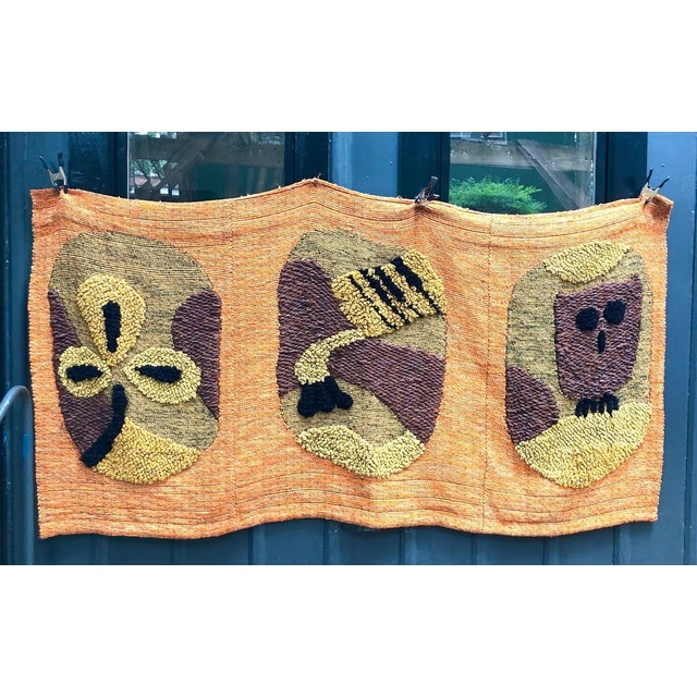 1950s-60s mid century Polynesian hand-loomed tapestry/wall hanging. This piece was custom created for a collector from...