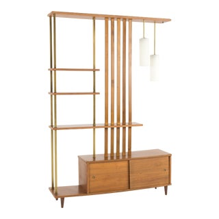1960s Mid Century Modern Walnut and Brass Wall Unit Room Divider For Sale