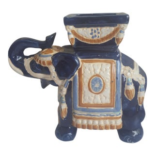 Vintage Chinoiserie Elephant Trunks Up Planter For Sale