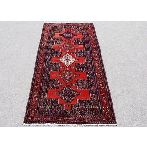 Cotton Semi Antique Persian Senneh Runner - 4′10″ × 10′5″ For Sale - Image 7 of 7