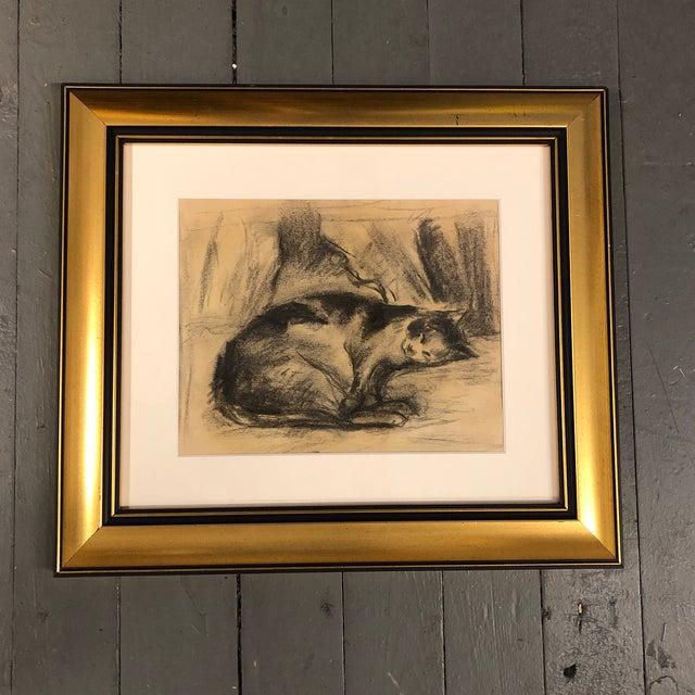 1940s Vintage Original Charcoal Resting Cat Drawing Framed For Sale - Image 5 of 5