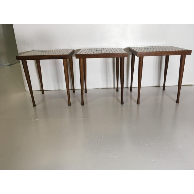 Mid-Century Tile Top Walnut Stacking Tables - Image 2 of 10