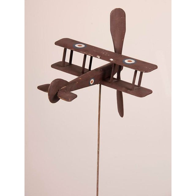 Handsome Hand Carved and Painted Wooden Biplane from England c.1940 For Sale - Image 4 of 6