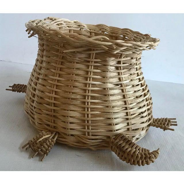 Vintage Wicker Turtle Planter Basket For Sale - Image 4 of 8