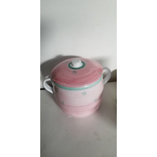 Vintage Italian Caleca Pastel Ironstone Lidded Canister Storage Container or Cookie Jar Preview