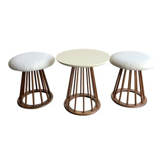 Arthur Umanoff Mid Century Spindle Stools and Table For Sale