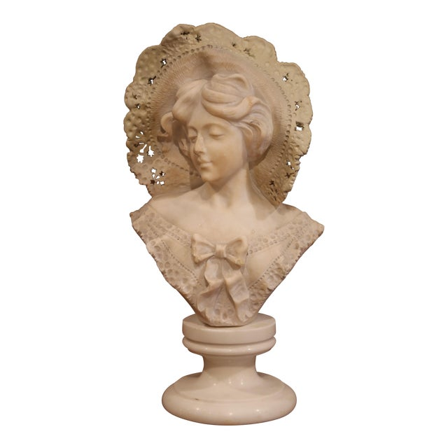 19th Century French Marble Bust of Young Beauty With Lace Hat on Swivel Base For Sale