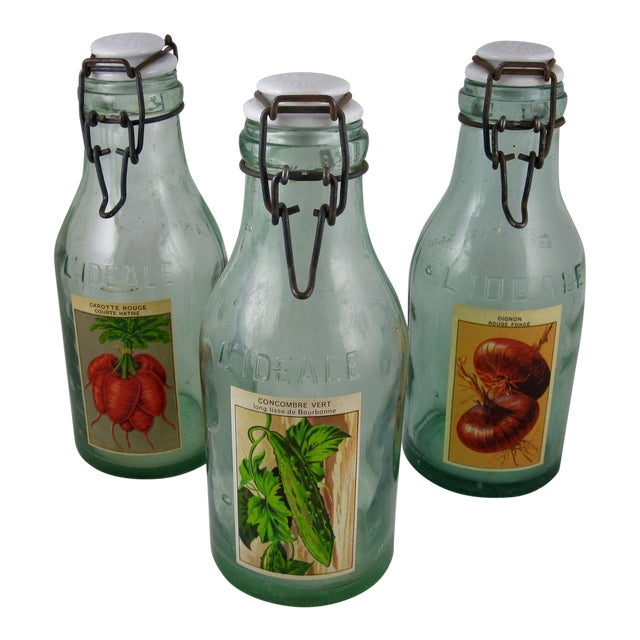French L'Ideale Canning Preserve Jars - Set of 3 For Sale