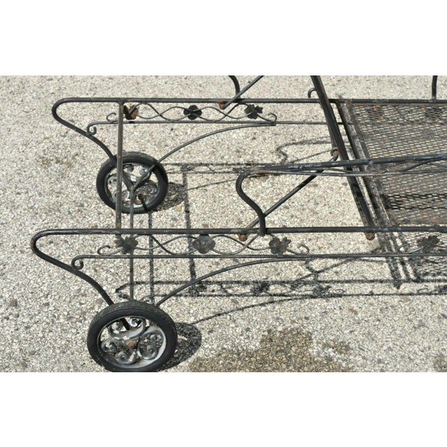 Metal Vintage Mid Century Russell Woodard Patio Garden Reclining Wrought Iron Chairs- a Pair For Sale - Image 7 of 13