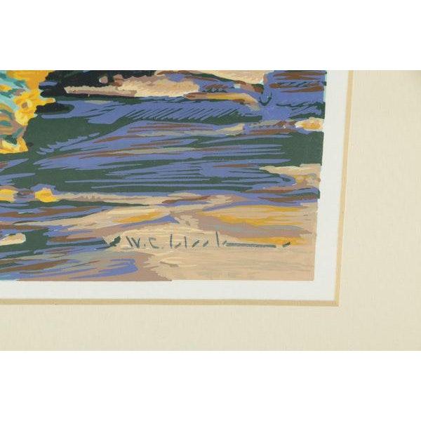 Wood Mid-Century Southwest Landscape Serigraph Print For Sale - Image 7 of 8