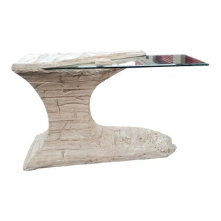 1970s Postmodern Faux Rock Plaster Console Table For Sale