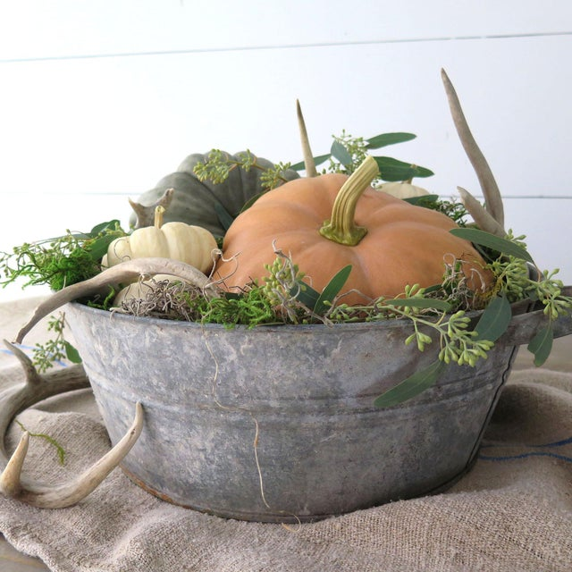 This old zinc tub can be used inside the home or out on the patio! Imported from Hungary, this shallow zinc tubs can fit...