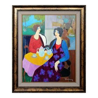 1970s Mid Century Modern Itzchak Tarkay Framed Original Acrylic Painting Tea for Two For Sale