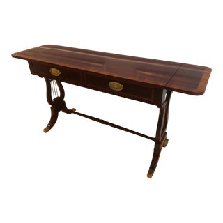 Vintage Baker Mahogany Lyre Console Table For Sale