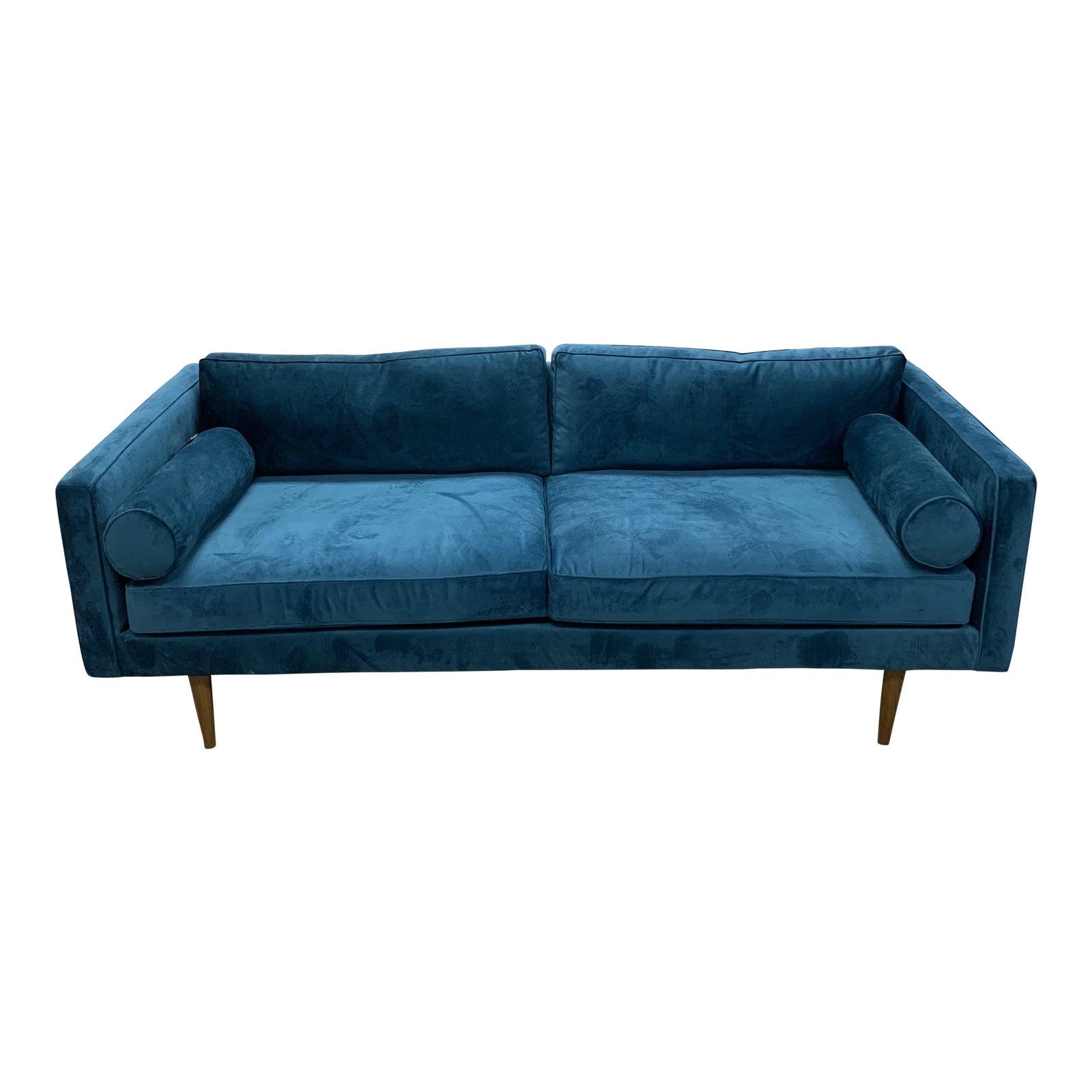 Astonishing Modern West Elm Mid Century Style Teal Velvet Sofa Ocoug Best Dining Table And Chair Ideas Images Ocougorg
