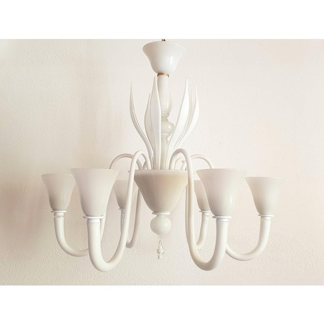 Large Mid-Century Modern 6 Lights Milk Murano Glass Chandelier by Venini For Sale - Image 11 of 11