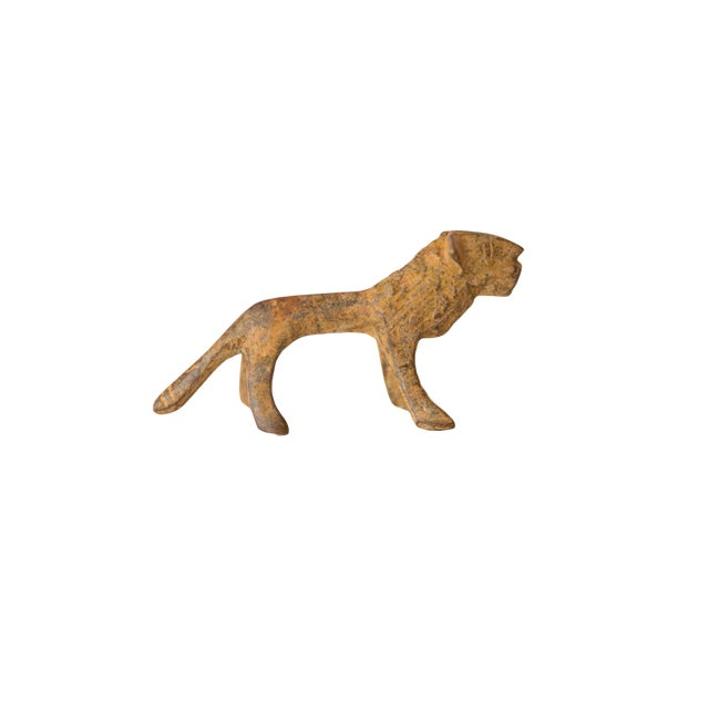 Vintage African Mini Bronze Lion With Rusty Patina For Sale