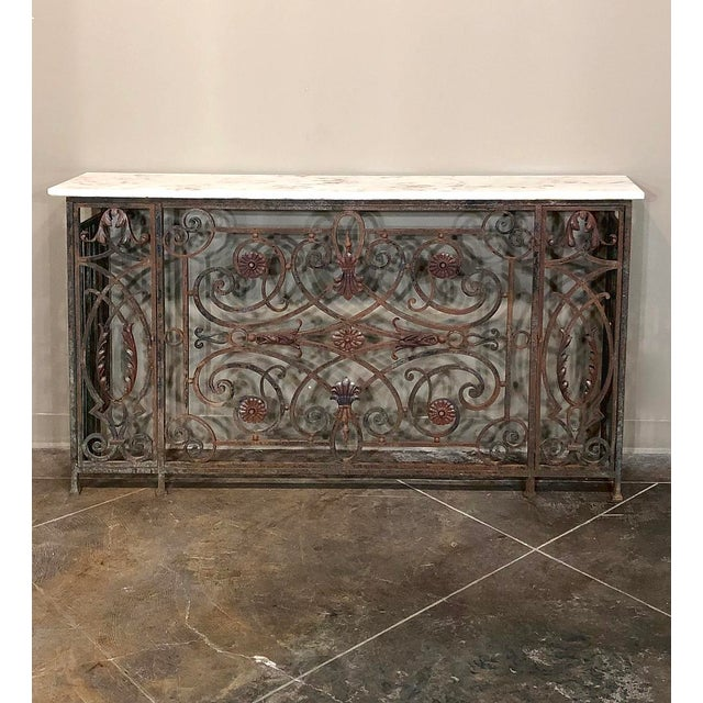 Napoleon III Pair 19th Century Wrought Iron Marble Top Consoles For Sale - Image 3 of 13