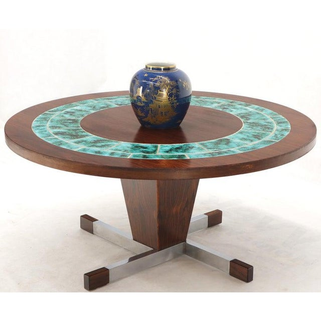 1970s Art Tile Top Rosewood Cone Shape Base Round Coffee Table For Sale - Image 5 of 10
