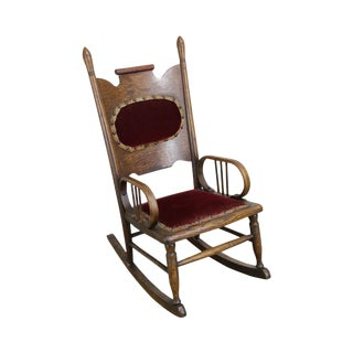 Antique Victorian Oak Childs Rocker For Sale