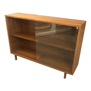 1960s Danish Modern Glass Cabinet With Two Shelves For Sale