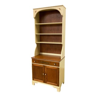 Vintage Hitchcock Cherry 2-Piece Shelf Bookcase Cabinet For Sale