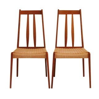 Mid Century Teak Accent Chairs, A Pair