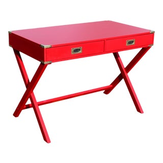 "1970s Campaign Desk in ""Lipstick"" Red & Brass Hardware For Sale"