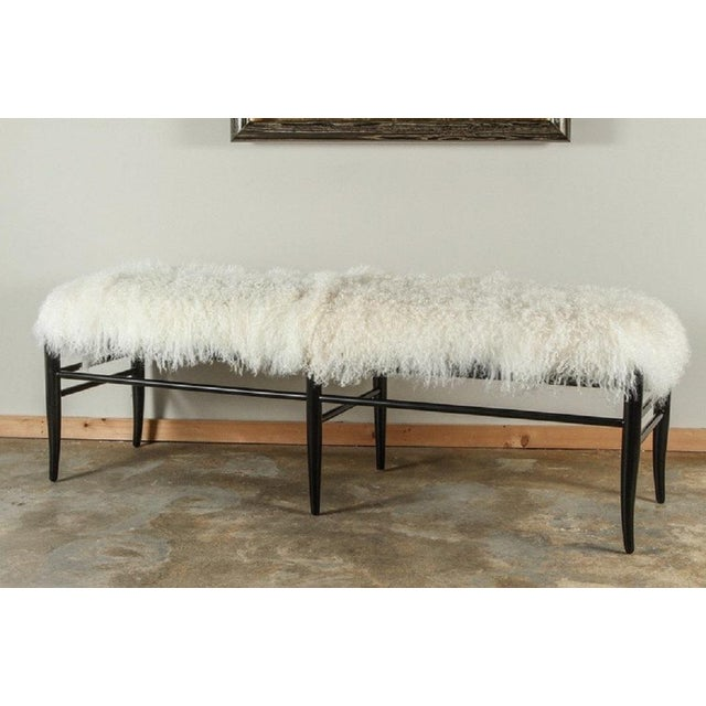 Gio Ponti Inspired Long Bench in Mongolian Lamb - Image 2 of 4