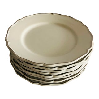 "Este c.e., Dinner Plates S-8, 11"" Off-White Silver Rimmed For Sale"