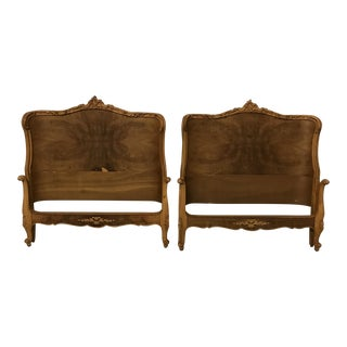 1970s Vintage French Provincial Pecan Wood Twin Beds - A Pair