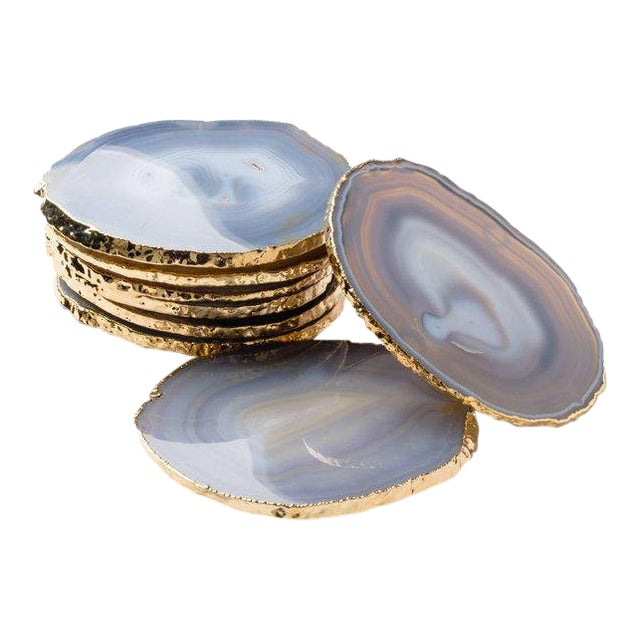 Set of Eight Semi-Precious Gemstone Coasters Grey Agate Wrapped in 24-Karat Gold For Sale