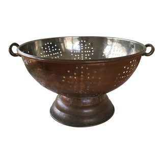 Vintage French Copper & Brass Colander For Sale