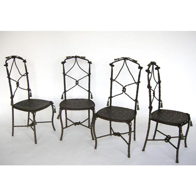 Antique French Cast Iron Garden Cafe Chairs For Sale - Image 4 of 11