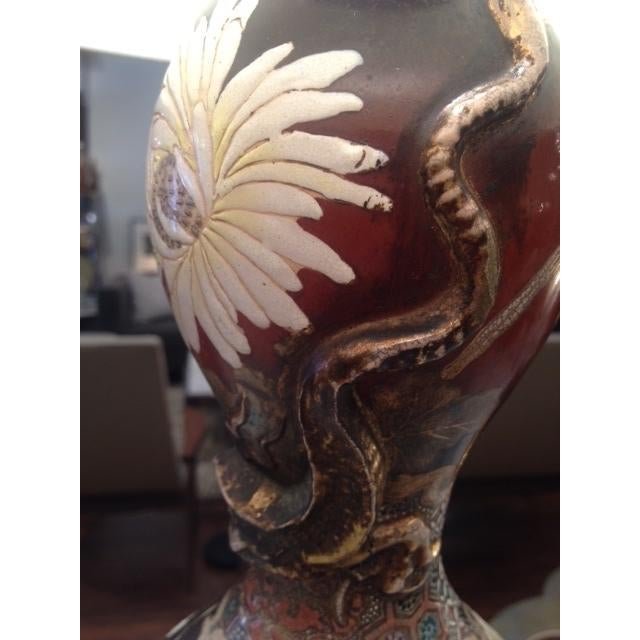 Vintage Asian Hand Painted Ceramic Gord Lamp - Image 6 of 11