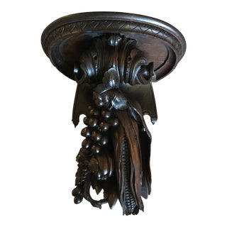 19th Century Antique French Walnut Carved Shelf For Sale