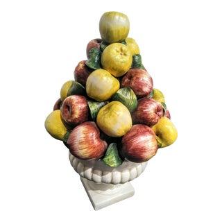 Extra Large Italian Ceramic Apple Topiary Fruit Tree Statue For Sale