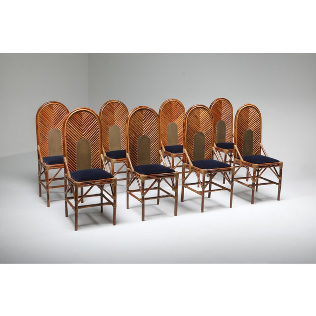 Bamboo & velvet dining chairs with blue velvet upholstery in de style of Vivai Del Sud, Italy, 1970s. We have 8 chairs...