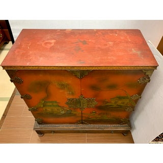 Early 20th Century Antique Chinese Chinoiserie Hand Painted Red Cabinet Bar Preview