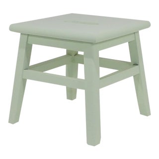 Vintage Sage Mint Green Wood Step Stool / Small Kids Bench For Sale