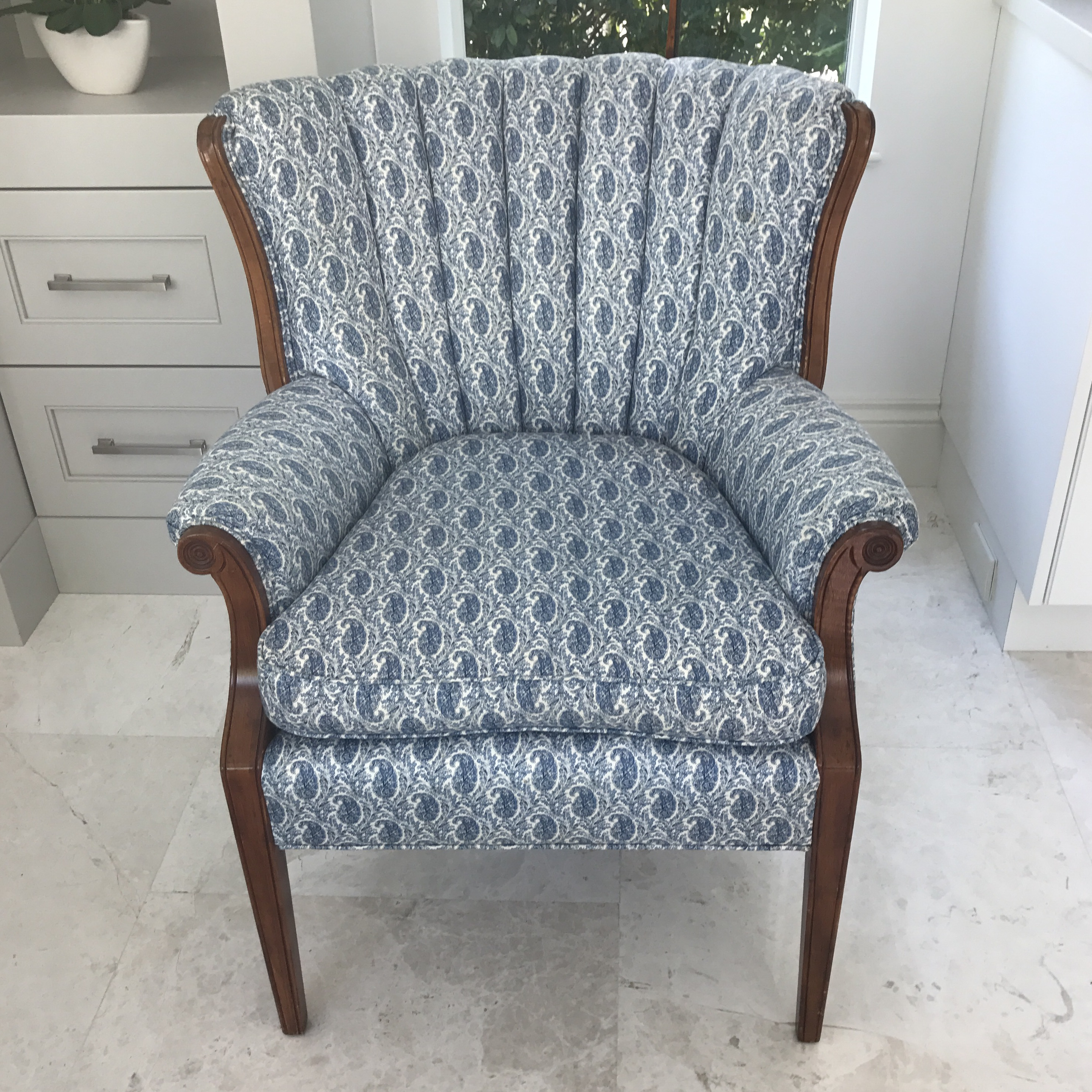 Lovely Blue Paisley Upholstered Arm Chair. Petite In Stature; A Lovely  Accent Chair For