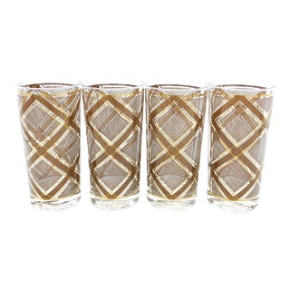 Vintage Mid-Century Georges Briard Brown and Metallic Gold Tumbler Glasses - Set of 4 For Sale