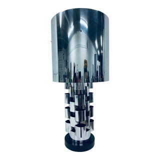 C. Jere Polished Chrome Table Lamp With Shade For Sale