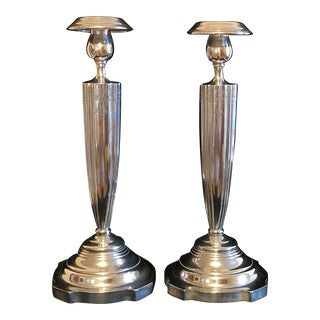1925 Victor Seidman Sterling Silver Hallmarked Candlesticks - a Pair For Sale